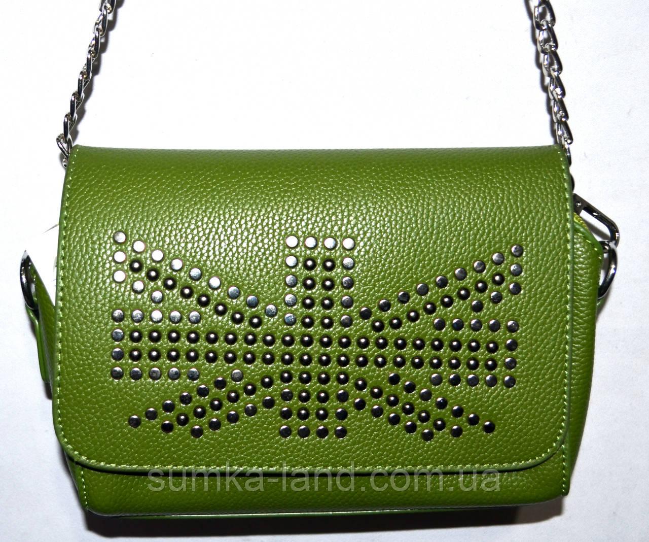 Женский стильный зеленый клатч на цепочке 20*12 см