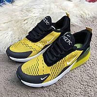 Кроссовки Nike Air Max 270 Черный/Желтый (реплика люкс класса 1:1)