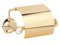 Держатель для туалетной бумаги, золото, кристалы, фото 1