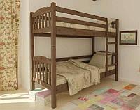 Кровать деревянная двухъярусная 90х200 Бай-бай Mebigrand сосна орех темный