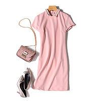 Платье пудровое трикотажное с жемчугом, размер  46