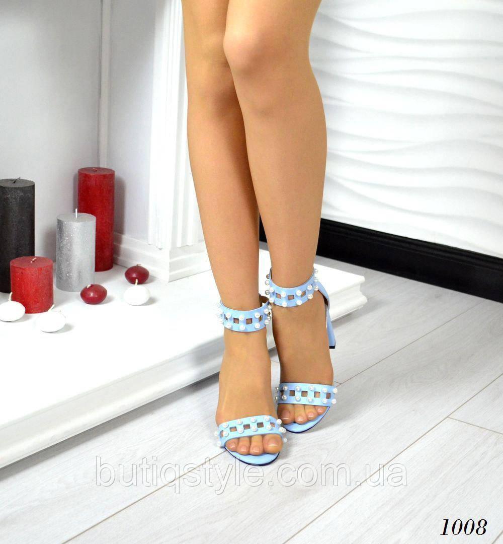 40 розмір! Жіночі блакитні босоніжки Elit , натур.шкіра