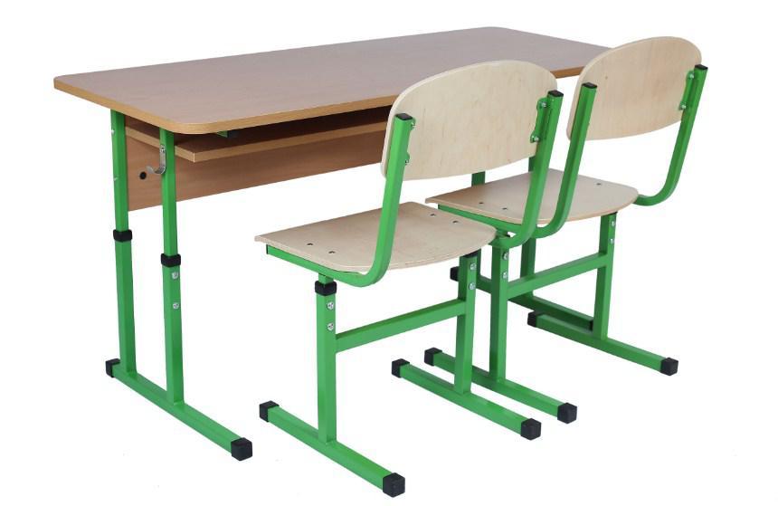 Комплект стол ученический 2-месный с полкой, №4-6+стул Т-образный, регул. по высоте №4-6.