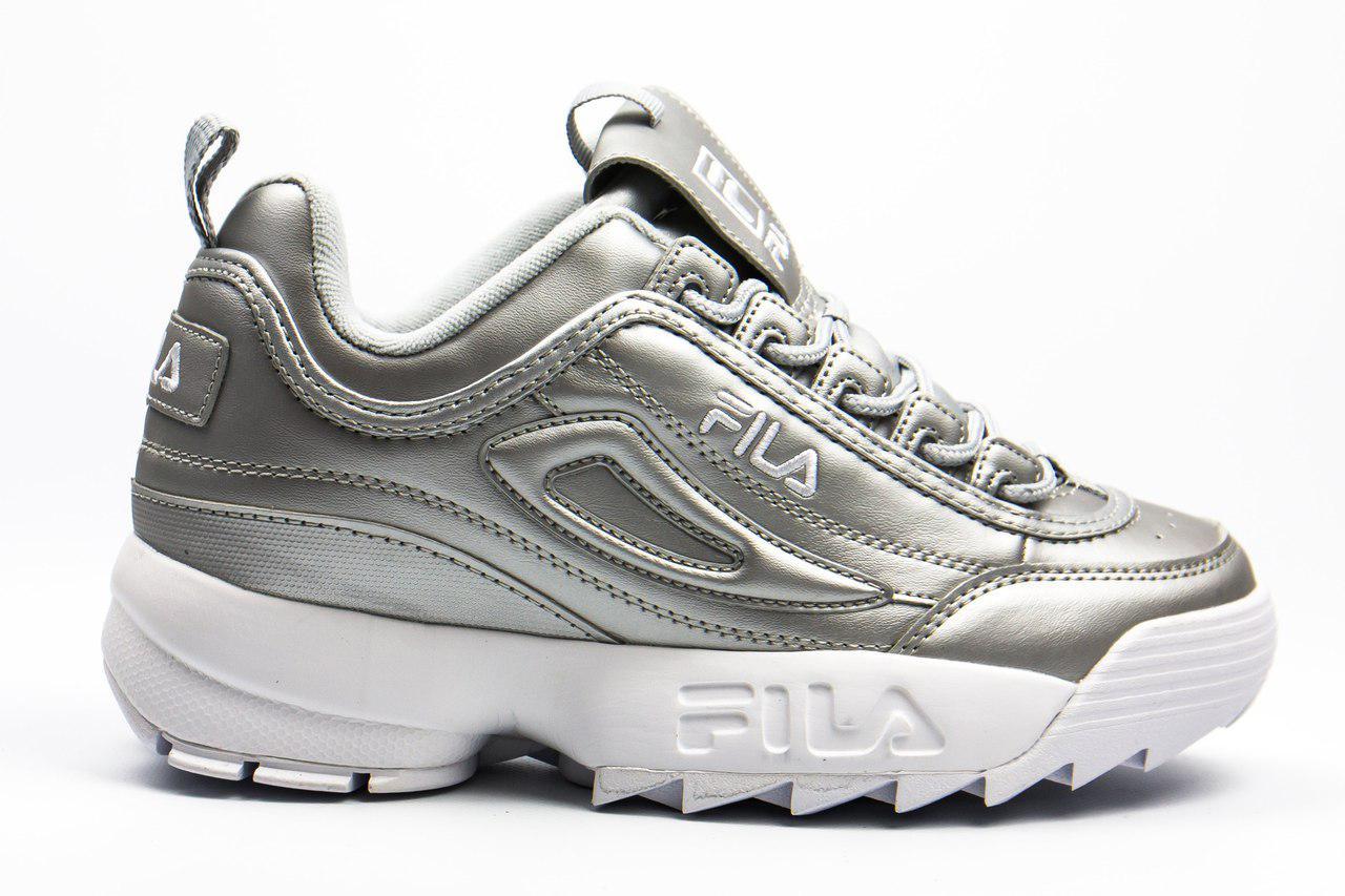 1a30c0f8 Женские кроссовки Fila Disruptor II (в стиле Фила Дизраптор 2) серебро -  Мультибрендовый магазин