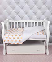 Лисички оранжевые, комплект детского постельного белья в кроватку (поплин)