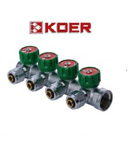 """Koer 1121-4 3/4""""x4 WAYS коллектор вентильный с фитингом"""