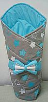 Конверт Одеяло для новорожденных на выписку с бантом весна лето осень 80х80см Звезды голубой