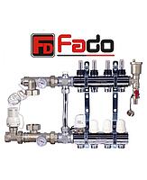 Коллектор для теплого пола Fado на восемь контуров в сборе с байпасом