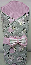 Конверт Одеяло для новорожденных на выписку с бантом весна лето осень 80х80см Барашки розовый