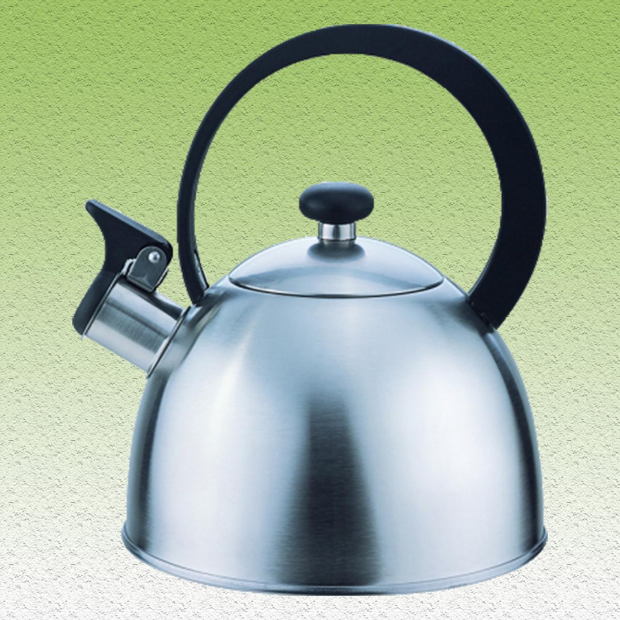 Чайник матовый со свистком, однослойное дно, 2,5 л.