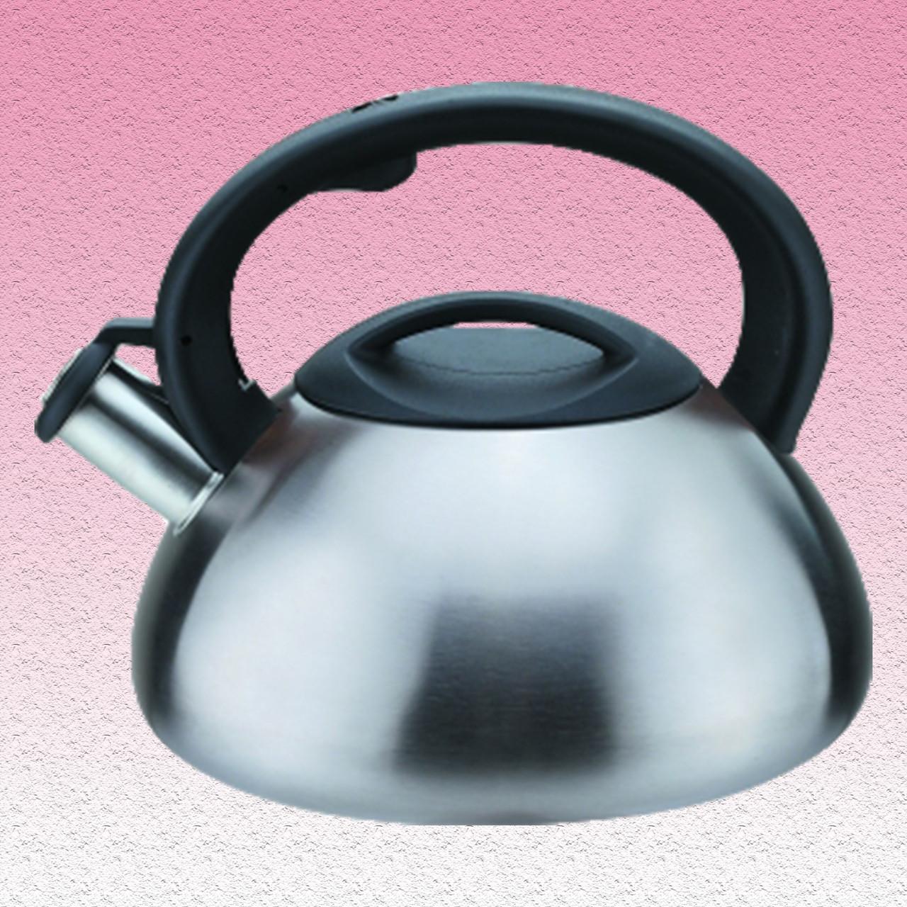 Чайник матовый со свистком, однослойное дно, 3,0 л.