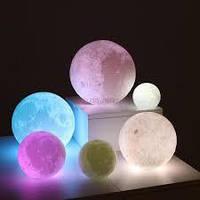 """Детский ночник — светильник """"Луна"""" 15 см 16 цветов. Пульт ДУ 3DTOYSLAMP"""