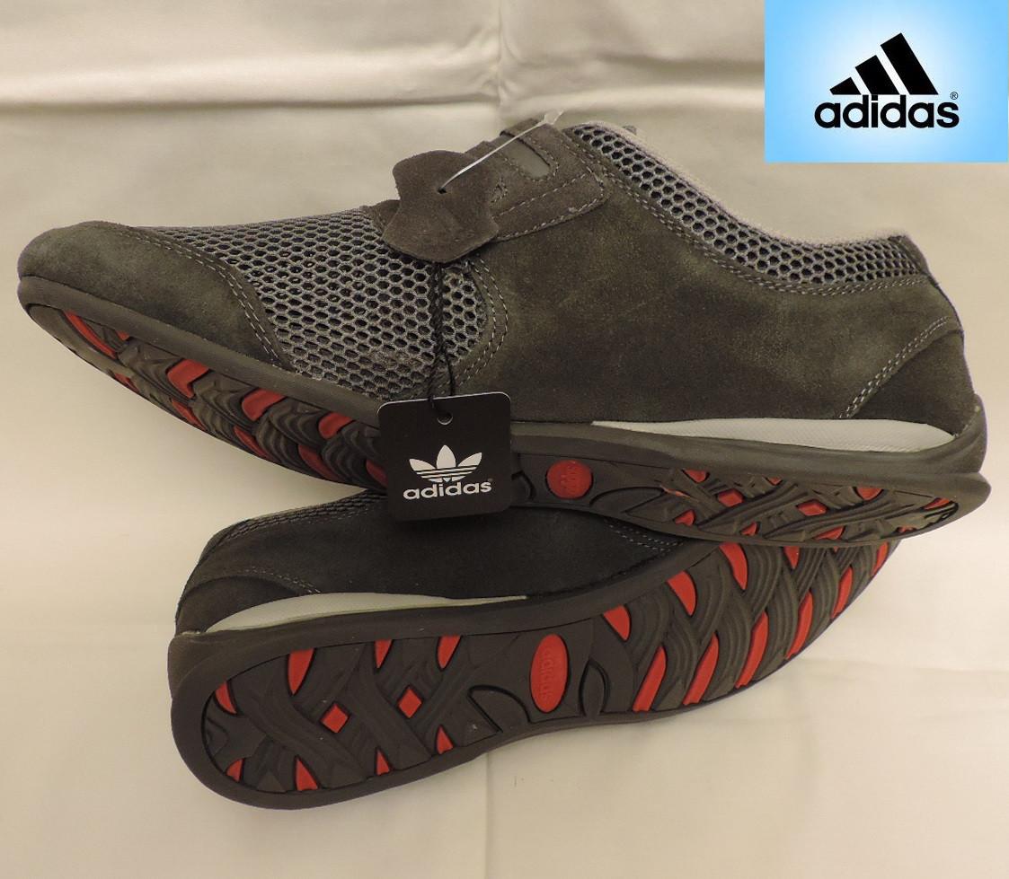 Летние мужские кожаные кроссовки Adidas Originals. Натуральная кожа + сетка. Индонезия, реплика