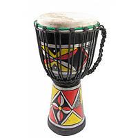 Барабан джембе расписной дерево с кожей (40х20х20 см)