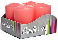 Свеча цилиндр 40х60мм (4шт) розовая