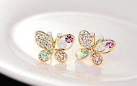 Серьги Бабочки сережки в форме бабочек