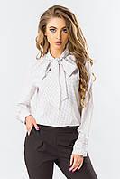 Блуза с галстуком горох на белом