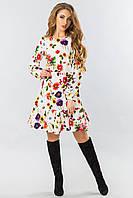 Платье с длинным рукавом и оборкой цветы на белом