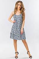 Платье в бельевом стиле с синей розой на клетке