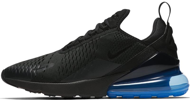 Мужские кроссовки Nike Air Max 270 (Найк Аир Макс) черные с синим