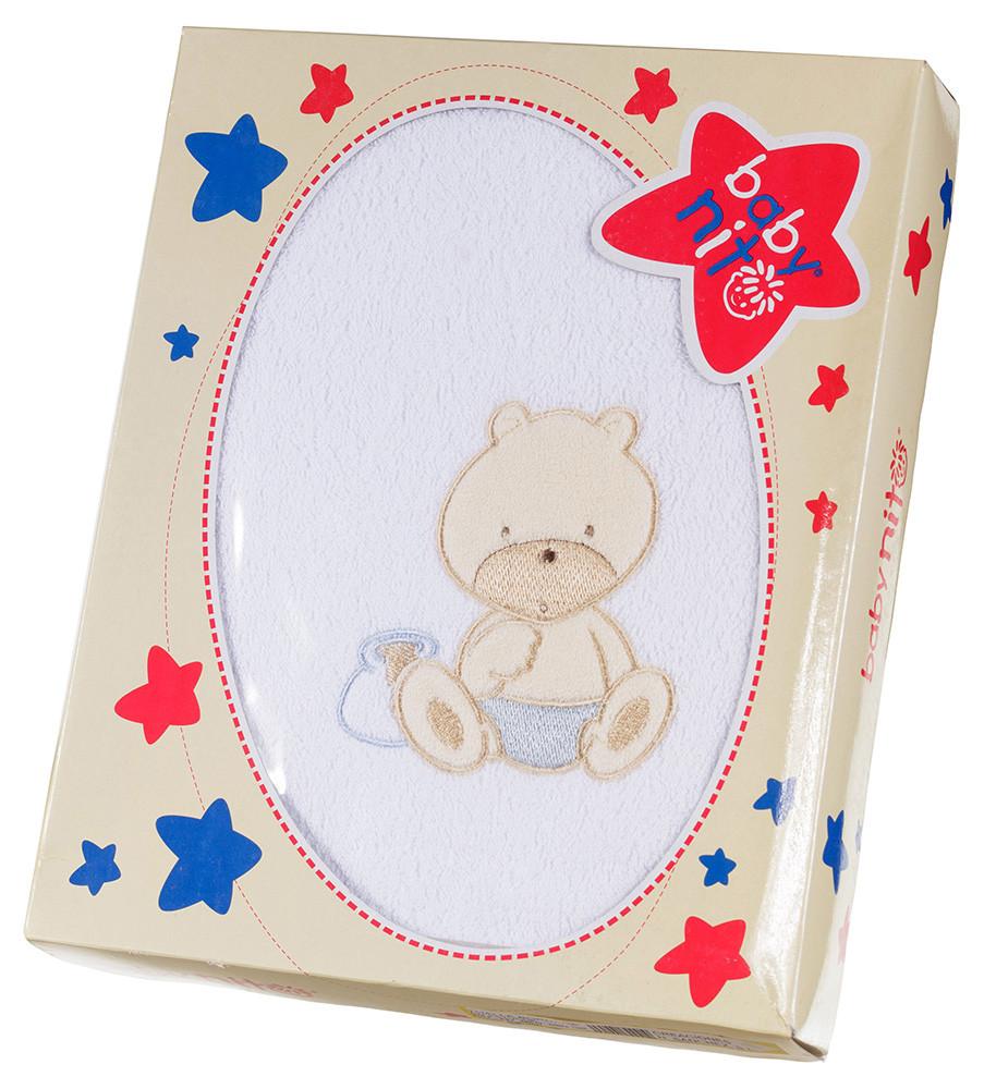 Полотенце Baby Nito BN-100 100x100  белый (мишка с голубым)