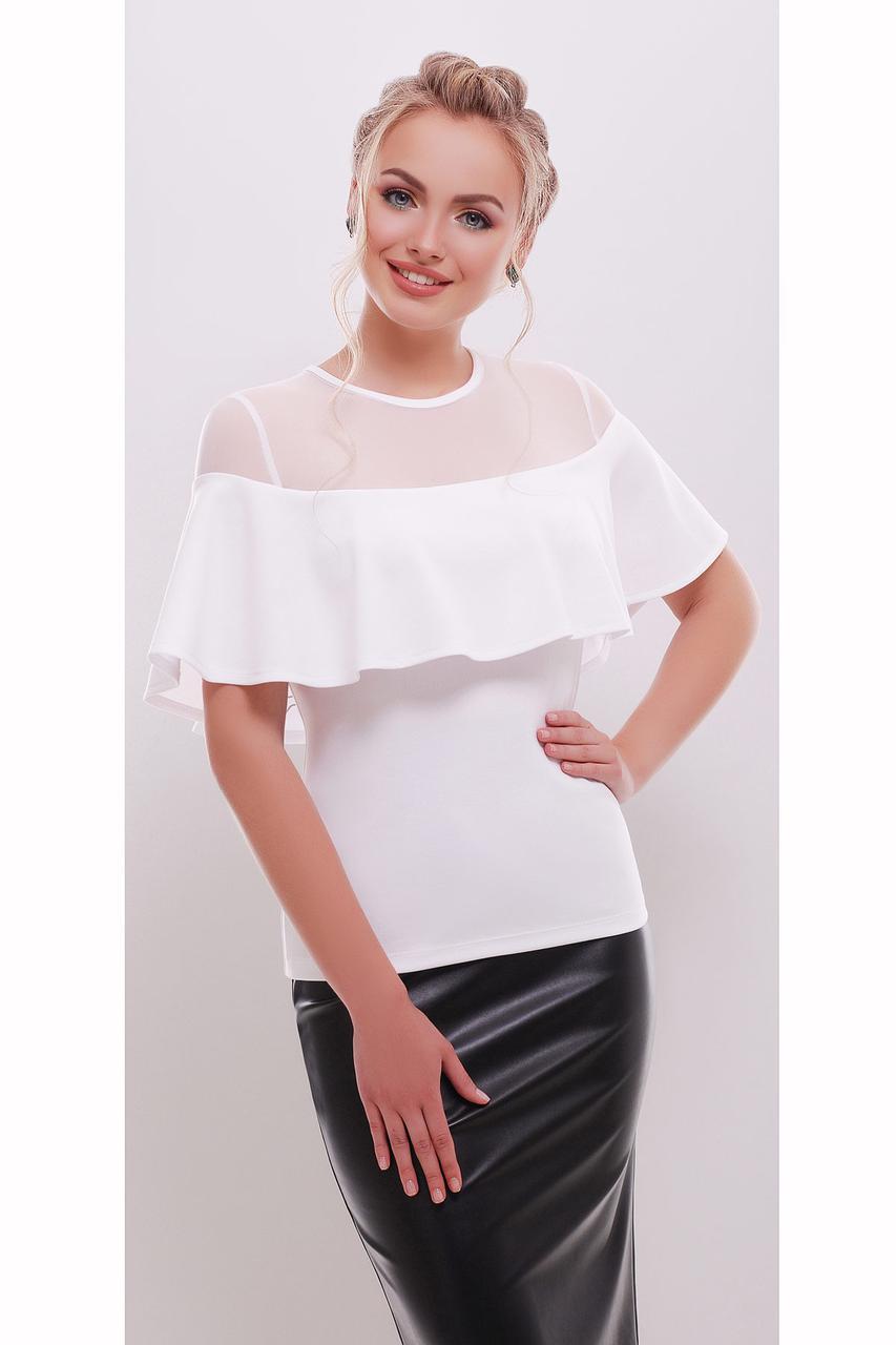 Женская белая летняя блузка с воланом Сонья б/р