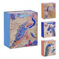"""(Цена за 12шт) Пакет подарочный бумажный """"Павлин"""" 18х21х8.5см, 12 штук в упаковке, пакет для подарка, картонный пакет сувенирный, картонный подарочный"""