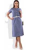 Синее платье А-покроя размеры от XL ПБ-186