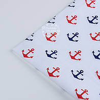 Лоскут ткани №248а  с синими и красными якорями