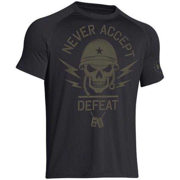 Мужская футболка с принтом Under Armour Black Ops Never Accept Defeat Black