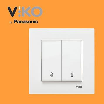 Перемикач прохідний 2-х клавішний VIKO Karre Білий, фото 2