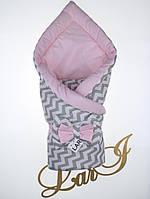"""Демисезонный конверт-одеяло """"Волна"""", розовый с принтом, фото 1"""