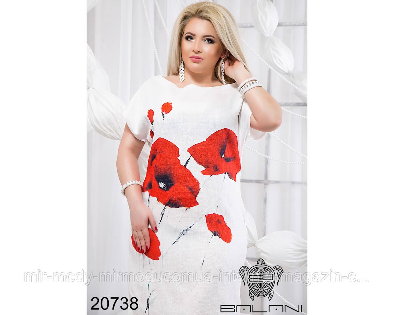 Летнее платье с маками - 20738 с 50 по 56 размер (бн)