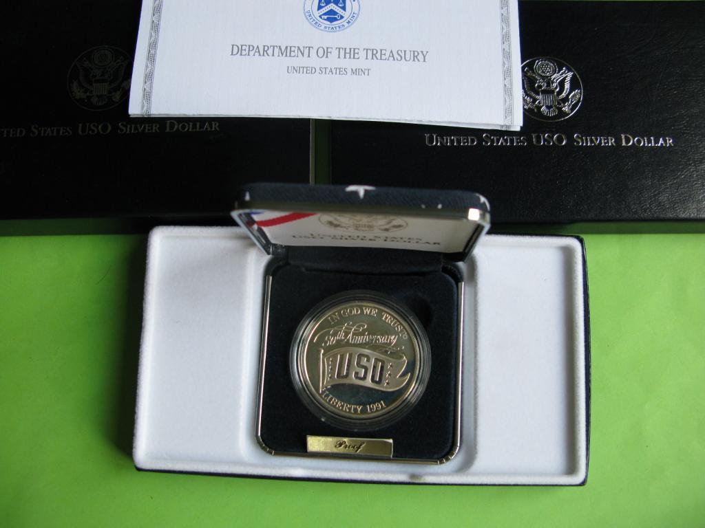 США 1 доллар 1991 г. 50 лет USO . серебро Пруф