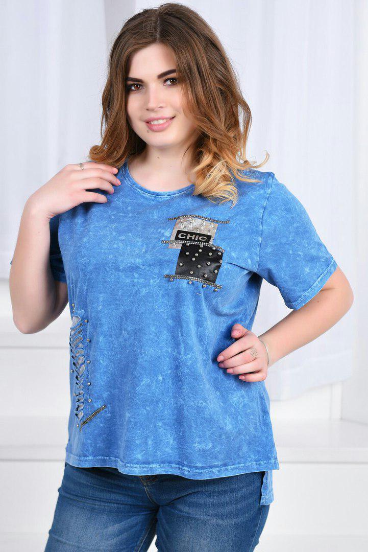 c0f86a027114d0a Женская футболка батал, 100% коттон, р-р 48; 50; 52; 54 (джинс ...