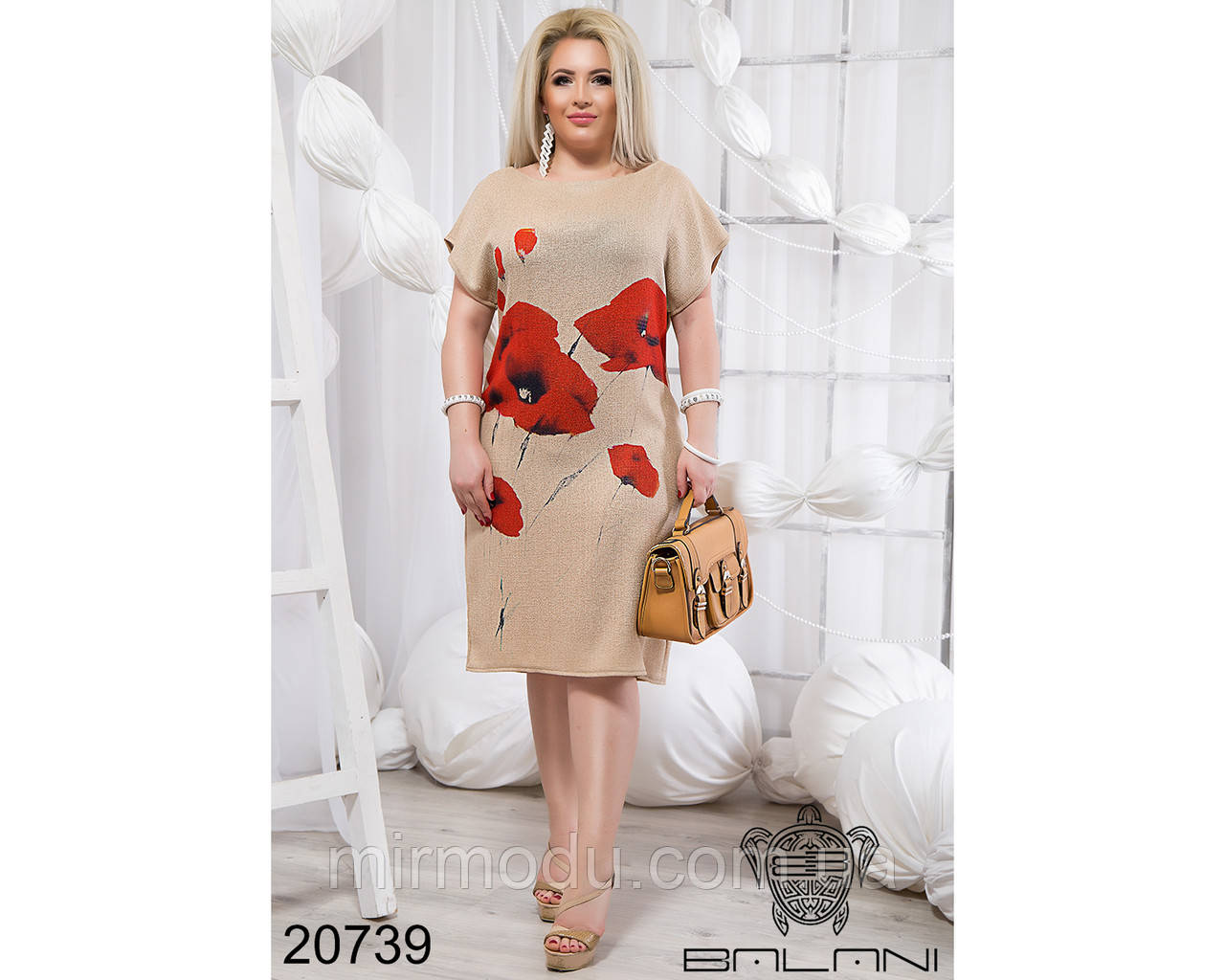 Летнее платье с маками - 20739 с 50 по 56 размер (бн)