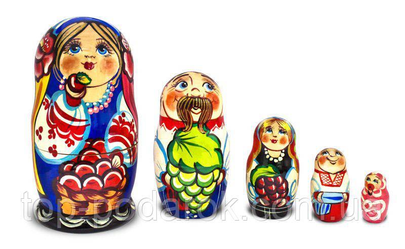 Матрьошка – Українська родина з п'яти 12см (дерево)