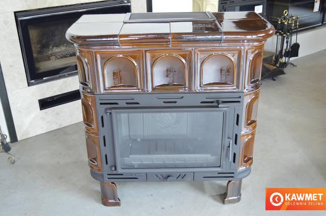 Кахельна піч камін KAWMET W9 (12,8 kW) глянсовий бронзова, фото 2