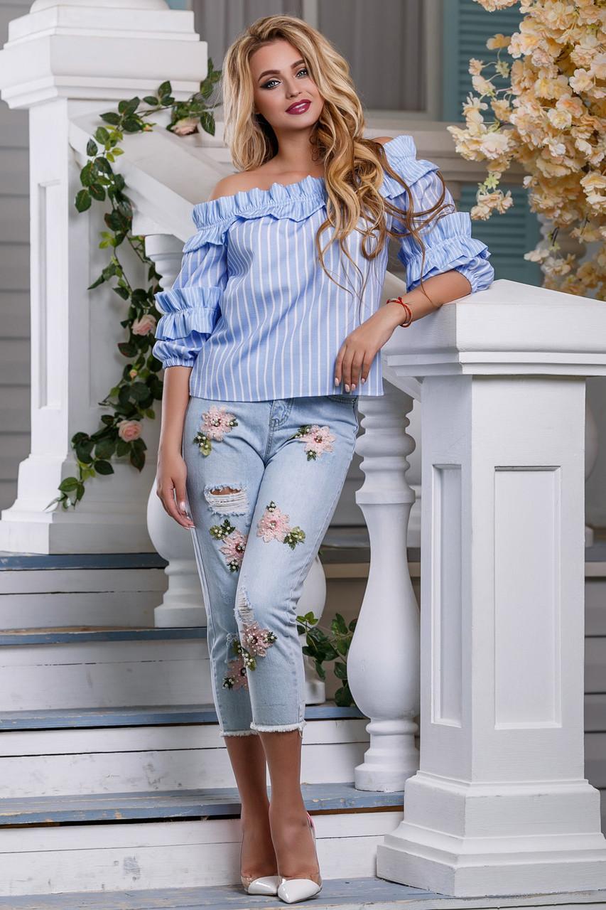 9b1991957833 Женская рубашка из льна, свободная, с открытыми плечами, голубая в полоску,  ...