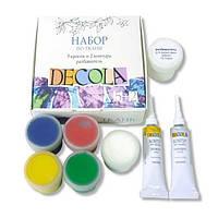 Набор акриловых красок по ткани DECOLA 5цв х 20мл, контуры в туб. 2цв.х18мл, разбавитель