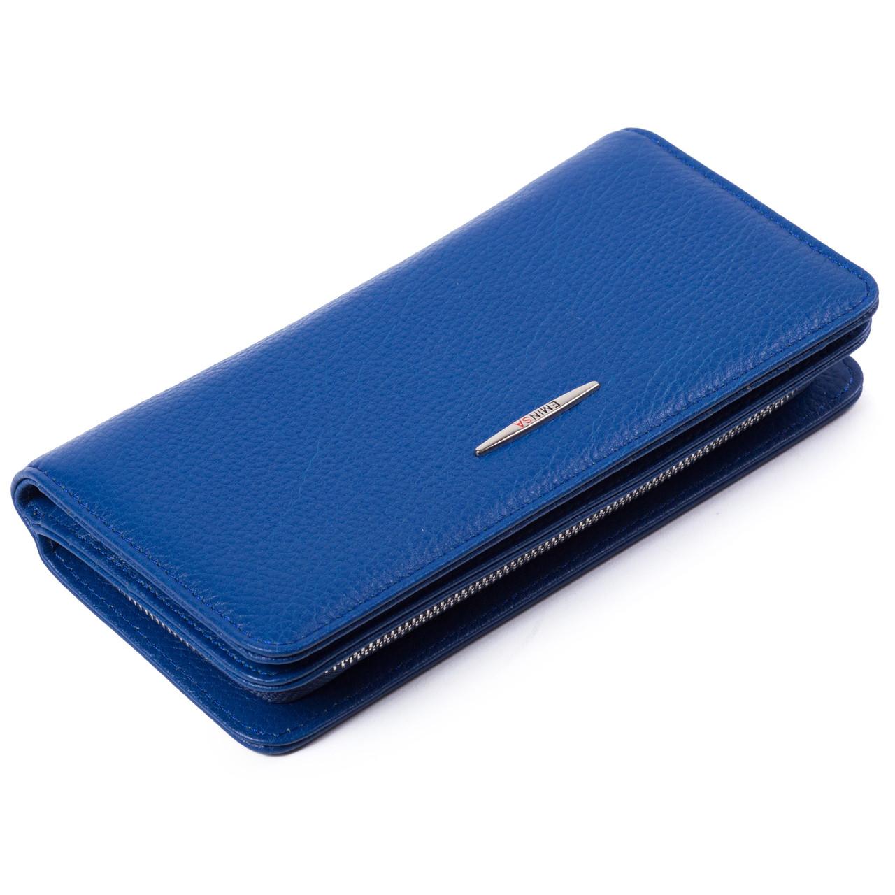 Женский кошелек кожаный синий Eminsa 2151-18-15