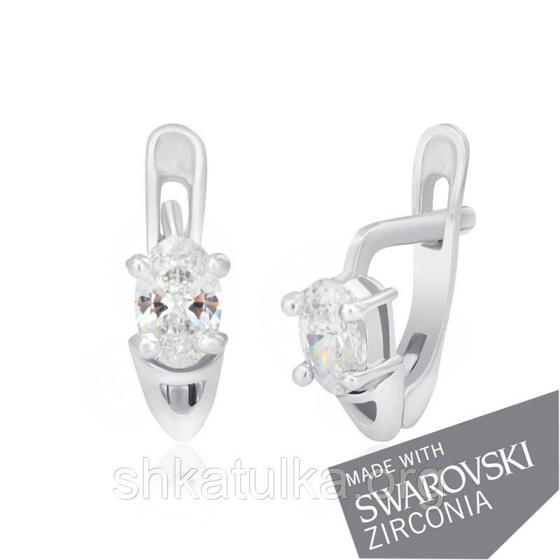 Серебряные серьги с цирконием SWAROWSKI ZIRCONIA С2С/092