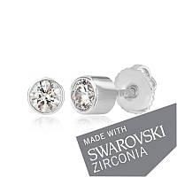 Серебряные серьги  пусеты с камнями SWAROWSKI ZIRCONIA
