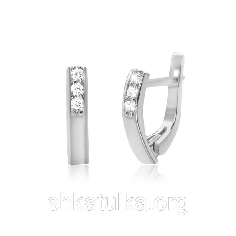 Серебряные серьги с фианитом С2Ф/260