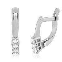 Серебряные серьги с фианитом детские С2Ф/275