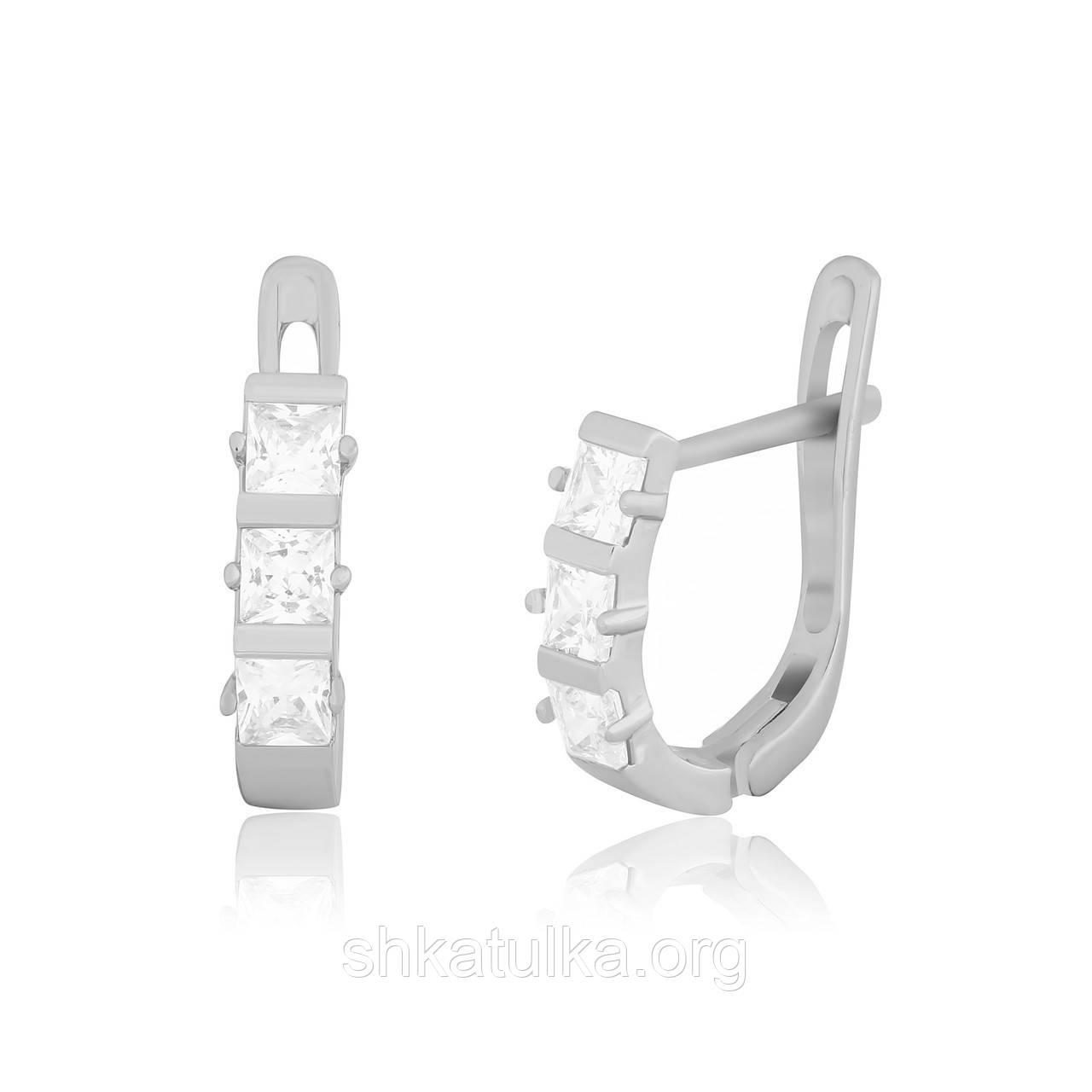 Серебряные серьги с фианитом детские С2Ф/343