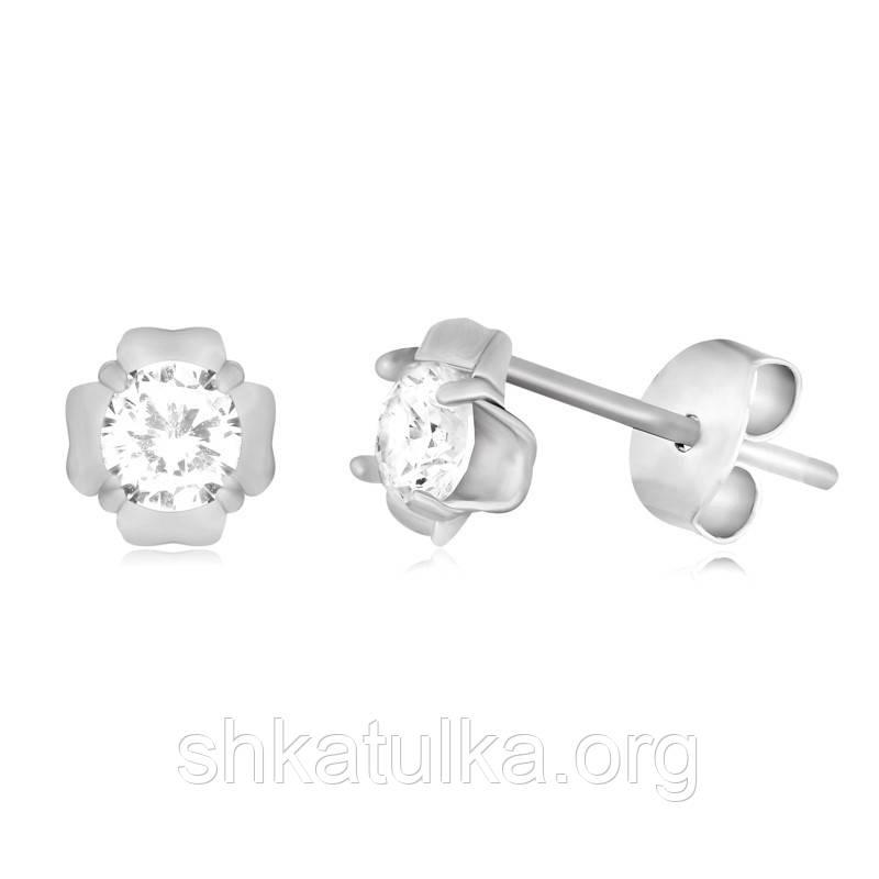 Серебряные серьги с фианитом С2Ф/4009А