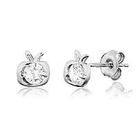 Серебряные серьги с фианитом детские С2Ф/4010А