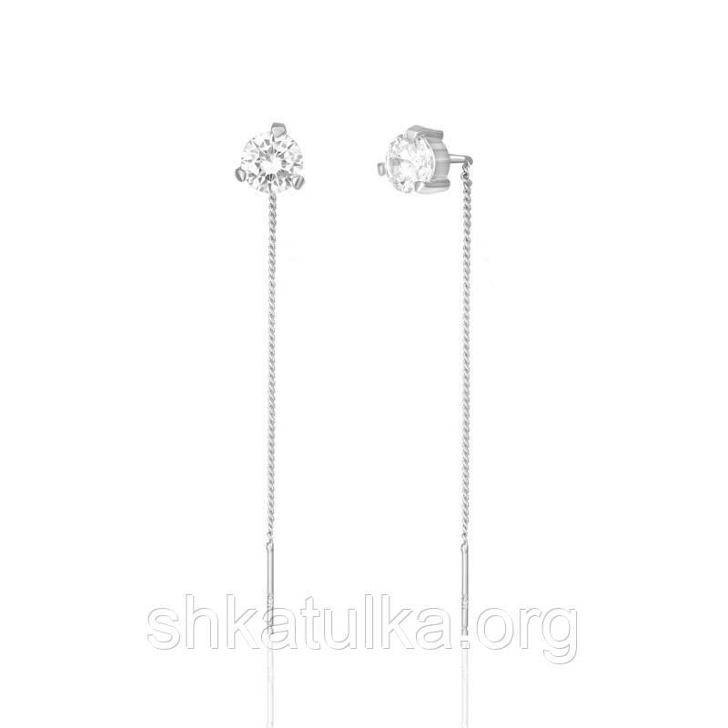 Серебряные серьги с фианитом С2Ф/4019