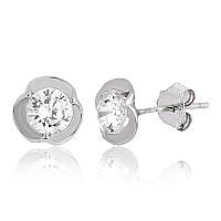 Серебряные серьги с фианитом детские С2Ф/484